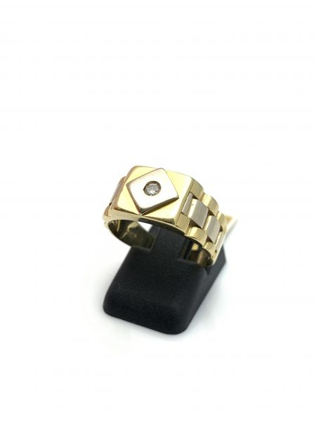 Bicolor Ring in 18 Karat mit Brillant